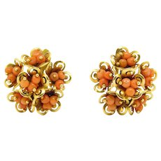 Antique Italian Leverback Coral Earrings Vermeil