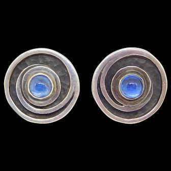 Margot De Taxco Mexican Silver Earrings Blue Stones