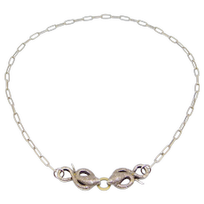 Fabulous 18k Silver Old Cut Diamonds Double Snake Necklace