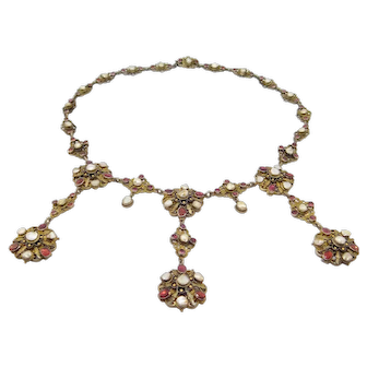 Austro Hungarian Victorian Silver Garnets And Pearl Festoon Necklace