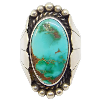 Old Hand Forged Silver Turquoise Ring Beautiful Stone