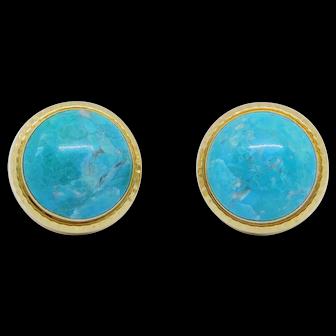 14k Estate Fine Turquoise Earrings Beautiful Color