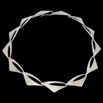 Mid Century Poul Warmind Modernist Danish Sterling Necklace