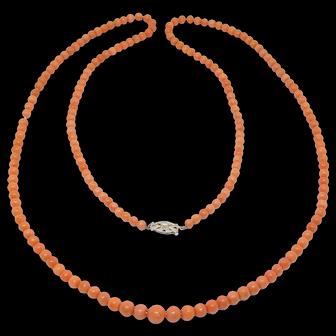 Victorian Long Strand Salmon Coral Beads Diamond Clasp