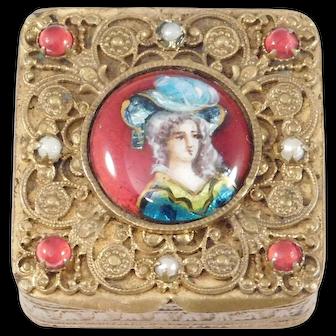 Antique French Enamel Portrait Pill Box Beautiful