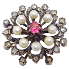 French Victorian Ruby Rose Cut Diamond Brooch Pendant Natural Pearls