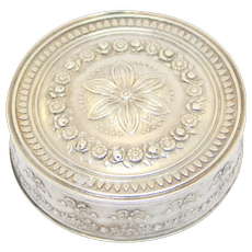 Victorian French Hallmarked 800 Silver Repousse Pill Or Snuff Box