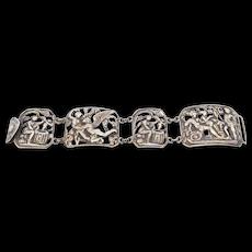 Early Ornate Cini Sterling Figural Bracelet Baroque Italian