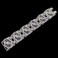 Wide Sterling Filigree Floral Danecraft Vintage Bracelet