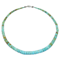 Old Turquoise Heishi Beads Necklace Beautiful Color