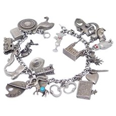 Vintage Sterling Charms Bracelet 21 Charms