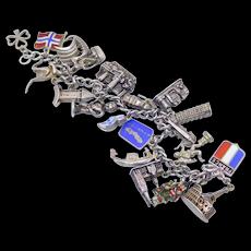 Sterling Vintage Charm Bracelet World Travels 20 Charms