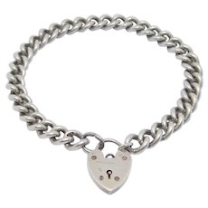 Antique Sterling Padlock Bracelet Heart Charms