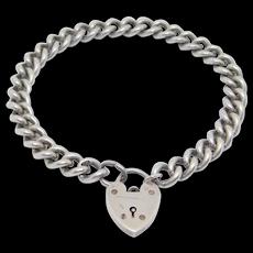 Antique Sterling Padlock Bracelet Heart Charms