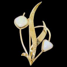 Modernist 18k Opals And Diamonds Brooch Beautiful