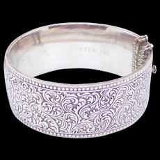 Ornate Foliate Topazio Sterling Wide Bangle Bracelet