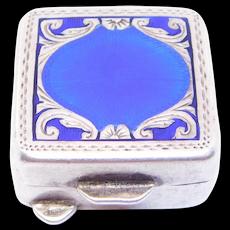 Deco 800 Silver Enamel Engraved Pill Box Italian
