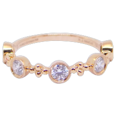 18K Rose Gold 5 Diamonds Half Carat Band Designer