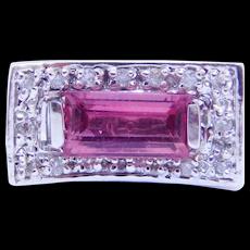 Modernist 14k Diamond Pink Tourmaline Designer Ring