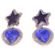 Lapis Onyx Silver Heart And Star Southwest Vintage Earrings