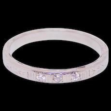 Art Deco 18k White Gold Diamond Band Engraved