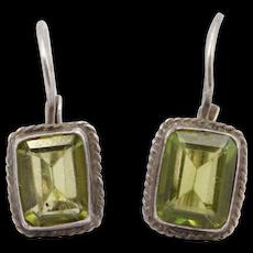 Sterling Leverback Peridot Emerald Cut Earrings