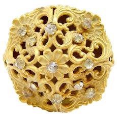 Ornate Victorian Filigree Hat Pin With Rhinestones Large