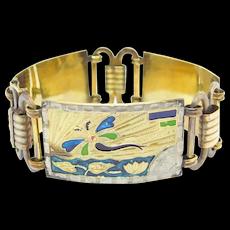 Art Deco German Gold Filled Bracelet Dragonfly Motif Enamel