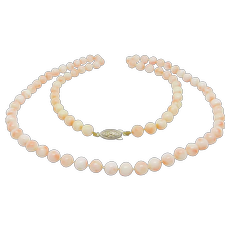Beautiful 8mm Natural Coral Beads Antique Hand Knotted