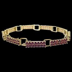 Bohemian Rose Cut Garnets Vermeil Bracelet