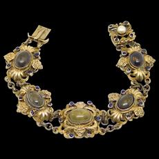 Austro Hungarian Silver Agate Sapphires Pearl Bracelet