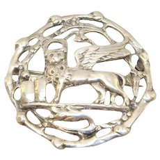 Danecraft Sterling Ornate Winged Lion Of Saint Mark Brooch