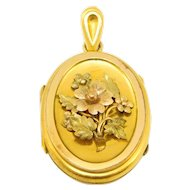 Victorian Multi Color Gold And Gold Filled Locket Circa 1880