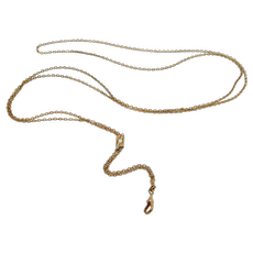 Victorian Gold Filled Opal Seed Pearl Slide Watch Necklace Chain