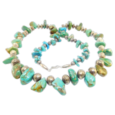 Old Large Bench Bead Silver And Turquoise Nugget Necklace