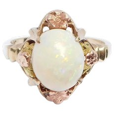 Pretty Deco Opal Ring With Multicolor Gold Flowers 10k