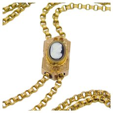 Ornate Victorian Gold Filled Hardstone Cameo Slide Watch Chain