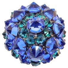 Cobalt Blue Inverted Crystal Brooch Schreiner Design