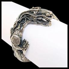 Fabulous Vintage Sterling Dragon Bracelet Ornate