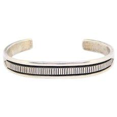 Heavy Navajo Silver Stamped Cuff Bracelet B. Morgan