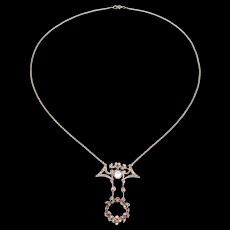 Edwardian Paste 835 Silver Lavalier Necklace