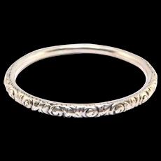 Heavy Solid Victorian Silver Repousse Bangle Bracelet