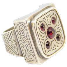 Ornate Byzantine Style Signed Greek Silver Ring With Garnets