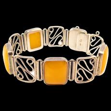 835 Silver Egg Yolk Butterscotch Amber Bracelet Signed
