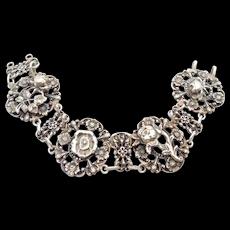 Old Ornate Italian 800 Silver Floral Bracelet