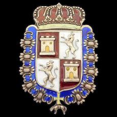 Antique Sterling Enamel Heraldic Lions Shield Brooch