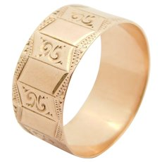 Victorian 10k Rose Gold Engraved Wide Wedding Band Sz 9