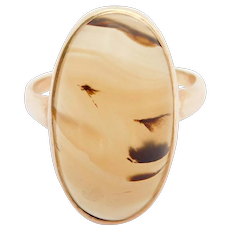 10k Victorian Banded Agate Cabochon Ring