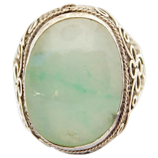 Chinese Silver Jade Filigree Antique Ring