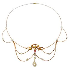 Rare 14k Art Nouveau Festoon Necklace Natural Pearls With Ruby